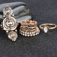 7pcs/set Gold Vintage Style Ring Rhinestone Decor Ring Set Jewelry Decoration