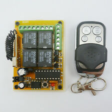 Rolling code HCS301 Transmitter Keyfob & 4 Relay Receiver Controls 12V 433.92MHZ