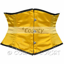 Shaper Cincher Mini Waspie Full Steel Boned Waistbust Sexy Yellow Satin Corset