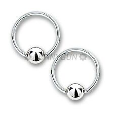 "14G 3/8"" Pair Stainless Steel Captive Bead Rings 14 gauge ear lip hoop dunnygun"