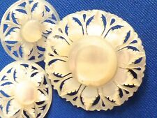 Hand carved vintage earrings and pin brooch mother of pearl earring set