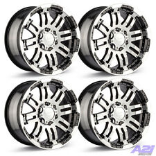 "Set 4 18"" Chevy GMC Toyota Vision 375 Warrior Black Machined Wheels 6 Lug 6x5.5"