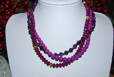 VINTAGE MULTI STRAND NECKLACE OF ACRYLIC PURPLE AND LILAC ROUND BEADS & RONDELS
