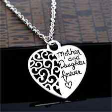 Valentine's Mother And Daughter Forever Silver Heart Pendant Chain Necklace