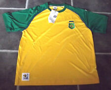 BNWT MENS L YELLOW GREEN BRASIL 2010 FIFA WORLD CUP FOOTBALL T SHIRT CHEST 42""