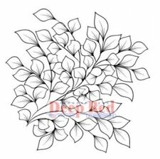 Deep Red Rubber Stamp Cluster Bunch of Leaves Tree Branch