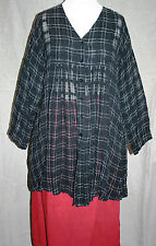 """MASAI XL tunic dress PLUS SIZE 46"""" bust BLACK CRINKLE IVORY CHECK smart QUIRKY"""