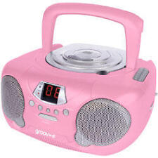 Groov-e GVPS713 Portable Audio CD Player Radio Boombox Aux Input LED -  Pink New
