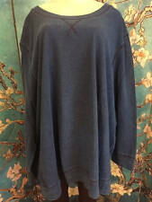 WOMAN WITHIN PLUS 4X NEW BLUE INDIGO WASH CREW NECK COTTON LONG SLEEVE TUNIC TOP