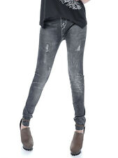 USA S/M Fit Black Distressed Ripped Faded Grey Wash Tattered Leggings