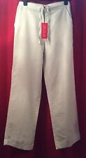 "AFTERSHOCK Cotton Drawstring Trousers 10 Cream 30"" Waist 29"" Leg Summer Holiday"