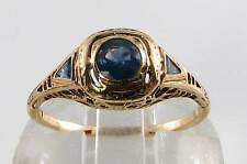 CLASS 9K 9CTGOLD BLUE SAPPHIRE ART DECO INS RING FREE RESIZE