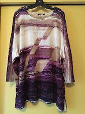 NEW Nic+Zoe Knit Top, Purple/Beige Linen Blend, 3/4 Sleeves, NWOT, Size 3X Plus