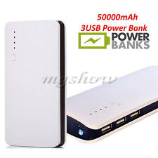 External 50000mAh Power Bank Pack Portable 3USB Battery Charger For All Phone