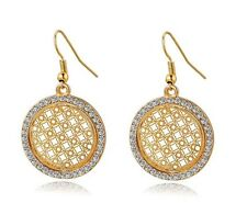 18K Yellow Gold Plated Filigree Drop Dangle Hook Earrings Swarovski Crystals
