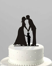 NEW stunning silhouette Bride & Groom WITH LITTLE BOY Wedding cake Toppers