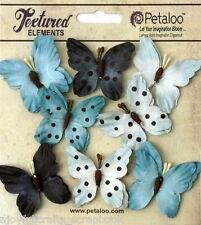 BUTTERFLY BLUE Mix 8 Teastained Paper 32-33mm across Darjeeling Petaloo