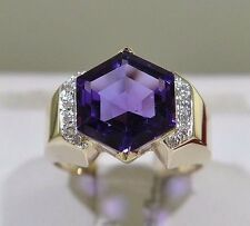 Amethyst Diamond 14k Yellow Gold Lady's Ring Size 6.75 (5.05 grams)