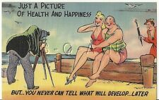 Original 1930s-50s Semi Nude Pinup Linen PC- Comic- Swimsuit- Camera- Wife!!!