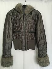 26 International Womens Gray Puff Faux Fur Hoodie Zipper Pocket Shiny Jacket L