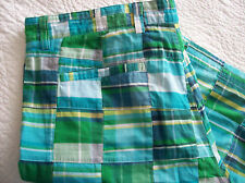 "Turquoise Plaid Patchwork Bermuda Shorts Size XL 38"" Waist Kelly's Kids 4 Mom"