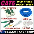 1 x 100m Cat 6 Cat6 Network LAN Cable + Crimper Punch Tools Tester RJ45 Plug