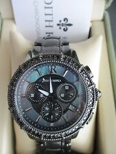 Judith Ripka Women's BlackTone CZ Chronograph Watch Working Battery Box Sz Small