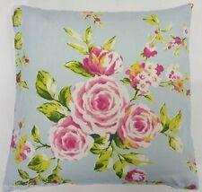 "FILLED SHABBY BLUE PINK ROSE FLORAL COTTON CHIC CUSHION 18"" TO MATCH CURTAINS"