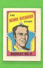 1971 - 72 Topps Hockey HENRI RICHARD Booklet No. 6