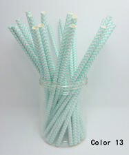 25 PCS Chevron Striped Paper Drinking Straws For Wedding Birthday Party Color 13