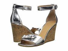 MARC BY MARC JACOBS LOGO DISK WEDGE SANDALS SILVER METALLIC 7M NIB $248