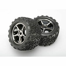 Traxxas Gemini Blk Chrome Wheel&Talon Tire (2) 17mm:E-Revo, TRA5374X