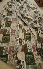 7.5 yards VTG 40's 50's UNUSED BARKCLOTH Excellent Green Turquoise Tan Brown