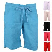 J116 LADIES SUMMER LINEN SHORTS WOMENS POCKETS ELASTICATED WAIST HOLIDAY SHORTS
