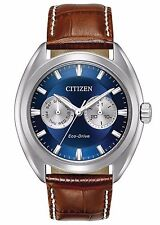 New Citizen Men's Eco Drive Stainless Steel Brown Leather Strap Watch BU4010-05L