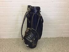 "RARE Vintage PING GOLF BLUE STAFF BAG 4-WAY Divided Vinyl Leather 8.5"" CART Used"