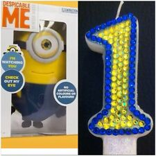 Minion Themed CANDLE (Any Number) Diamante Cake Topper Birthday Party FREEPOST