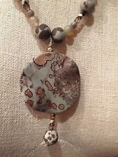 New Beautiful Leopard Jasper Sterling Silver Adjustable Necklace  Free Shipping