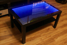 BLACK Table LED 3D Coffee Table Illuminated INFINITY MIRROR Effect Remote RF!