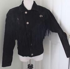 M Julian Suede Leather Jacket Coat Fringe Tassel Biker Santa Fe Western S Small