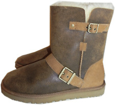 UGG Australia DYLYN Chestnut Leather Short Boot Fur Lined Bootie Biker 8- 39