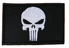 "Punisher Black Military Tactical Airsoft Morale Operator Cap Patch 3x2"" velcro"