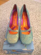 Irregular Choice Heel-WORN ONCE, Icicle Heel,Women's Size 7,gold/Torquoise