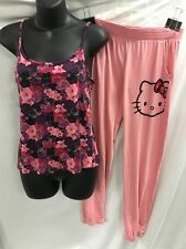 Hello Kitty 2-piece Woman's Pajamas Bottoms & Top Pink Floral Sz S