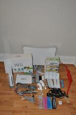 Nintendo Wii Console Bundle Fit Board Controllers Nunchuks 15 Games Mic Charger
