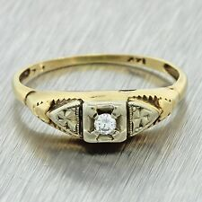 1920s Antique Art Deco 14k Solid Yellow Gold .04ct Diamond Engagement Ring