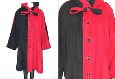 Vintage 1980's CASHMERE Red Black OVERSIZED BATWING HOODED WINTER COAT Size XXL