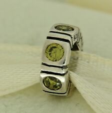 Authentic Pandora 790368GCZ Trinity Green CZ Spacer Sterling Silver Bead Charm