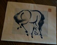 VINTAGE CHINESE PEN AND INK OF A HORSE DRAWING W/CHOP MARK