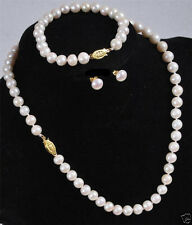 6-7MM White  Cultured Pearl Necklace Bracelet Earring Set AAA